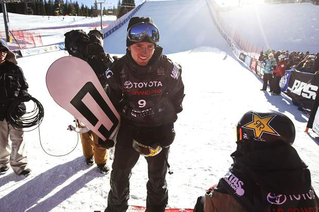 Mons Roisland of Norway following his run in the big air final during the U.S. Grand Prix event Sunday, Dec. 10, at Copper Mountain.