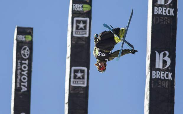 David Wise of United States competes in the pro ski superpipe finals during the Dew Tour event Friday, Dec. 15, at Breckenridge Ski Resort.
