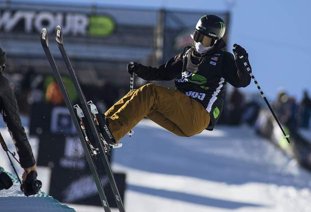 Cassie Sharpe of Canada competes in the pro ski superpipe finals during the Dew Tour event Friday, Dec. 15, at Breckenridge Ski Resort. Sharpe placed first with a high score of 93.66.
