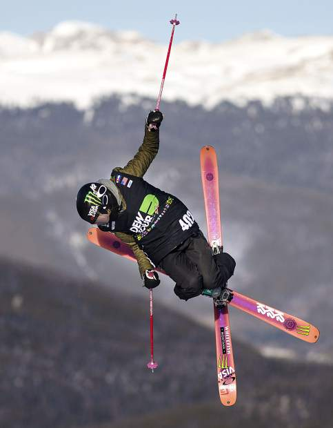 Maggie Voisin of United States competes in the slopestyle finals during the Dew Tour event Saturday, Dec. 16, at Breckenridge Ski Resort.