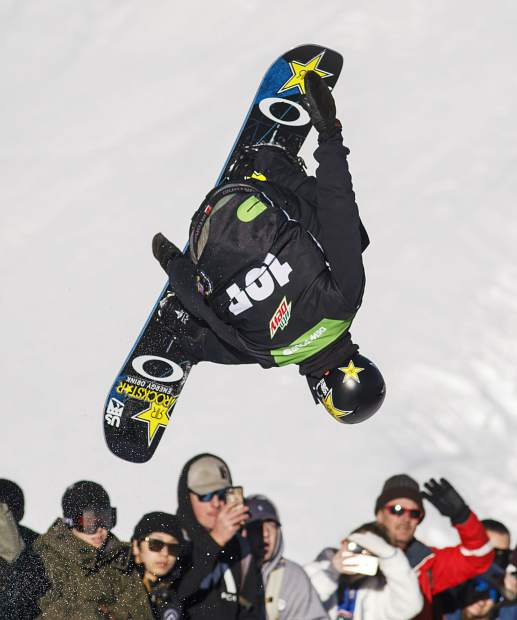 Eagle product Jake Pates of United States competes in the superpipe finals during the Dew Tour event Friday, Dec. 15, at Breckenridge Ski Resort.