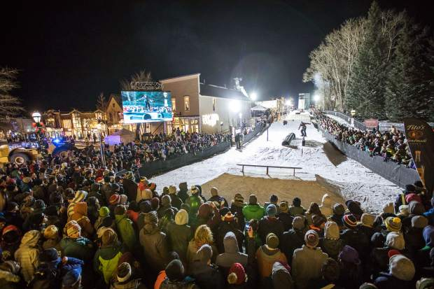 A view of the Dew Tour Streetstyle course in downtown Breckenridge Friday night.
