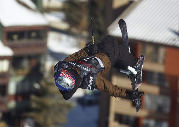 Torin Yater-Wallace of the United States competes in the halfpipe finals during the U.S. Grand Prix event Friday, Dec. 8, at Copper Mountain.