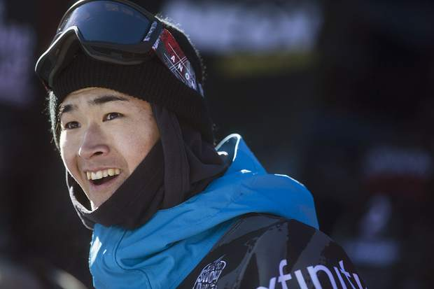Ayumu Hirano of Japan reacts to his score from halfpipe finals during the U.S. Grand Prix event Saturday, Dec. 9, at Copper Mountain. Hirano took home first with a high score of 95.25.