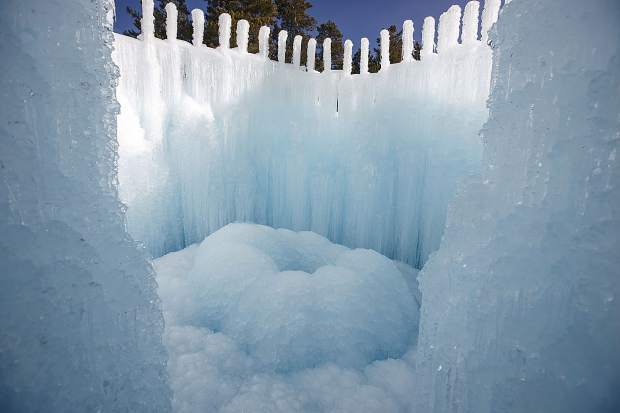 Ice Castles grown with sprinkler equipment and freezing temperatures Dec. 20, 2017, in Dillon Town Park.