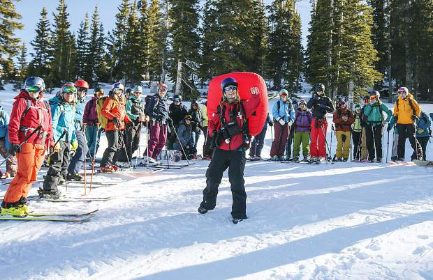 Copper Mountain Ski Patroller Kylie Petras, center, talks during the S.A.F.E. A.S. clinic Saturday, Dec. 2, at the resort.