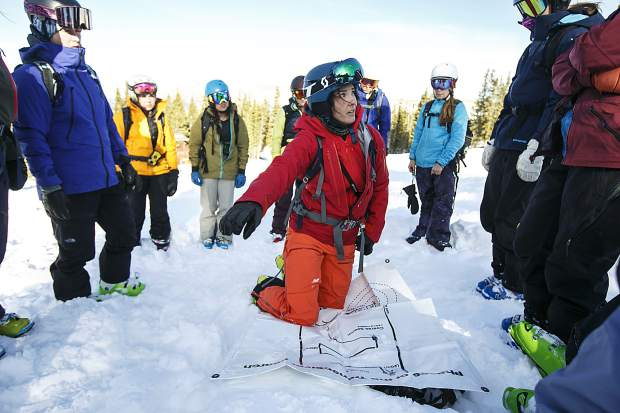 S.A.F.E. A.S. skier and instructor Jackie Paaso leads a avalanche beacon search clinic Saturday, Dec. 2, at Copper Mountain.