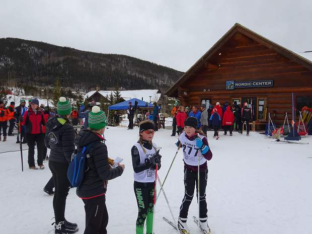 Skiers congregate near the startling line at this past weekend's United States Ski Association's Rocky Mountain Region qualifier, an event that was hosted last minute at the town of Frisco's nordic center after being relocated from the Gold Run Nordic Center in Breckenridge.