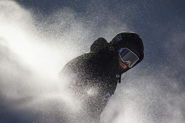 Danny Davis of United States rides out in the superpipe finals during the Dew Tour event Friday, Dec. 15, at Breckenridge Ski Resort. Davis finished 6th.