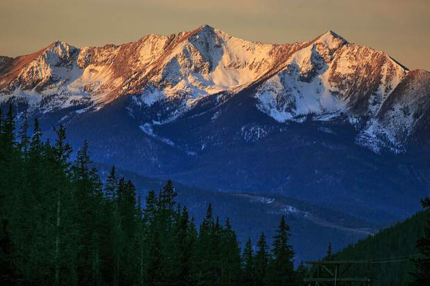 Peak One, Two, and Three, from right, is exposed by sunrise Tuesday, Nov. 14 in the Tenmile Range near Frisco.