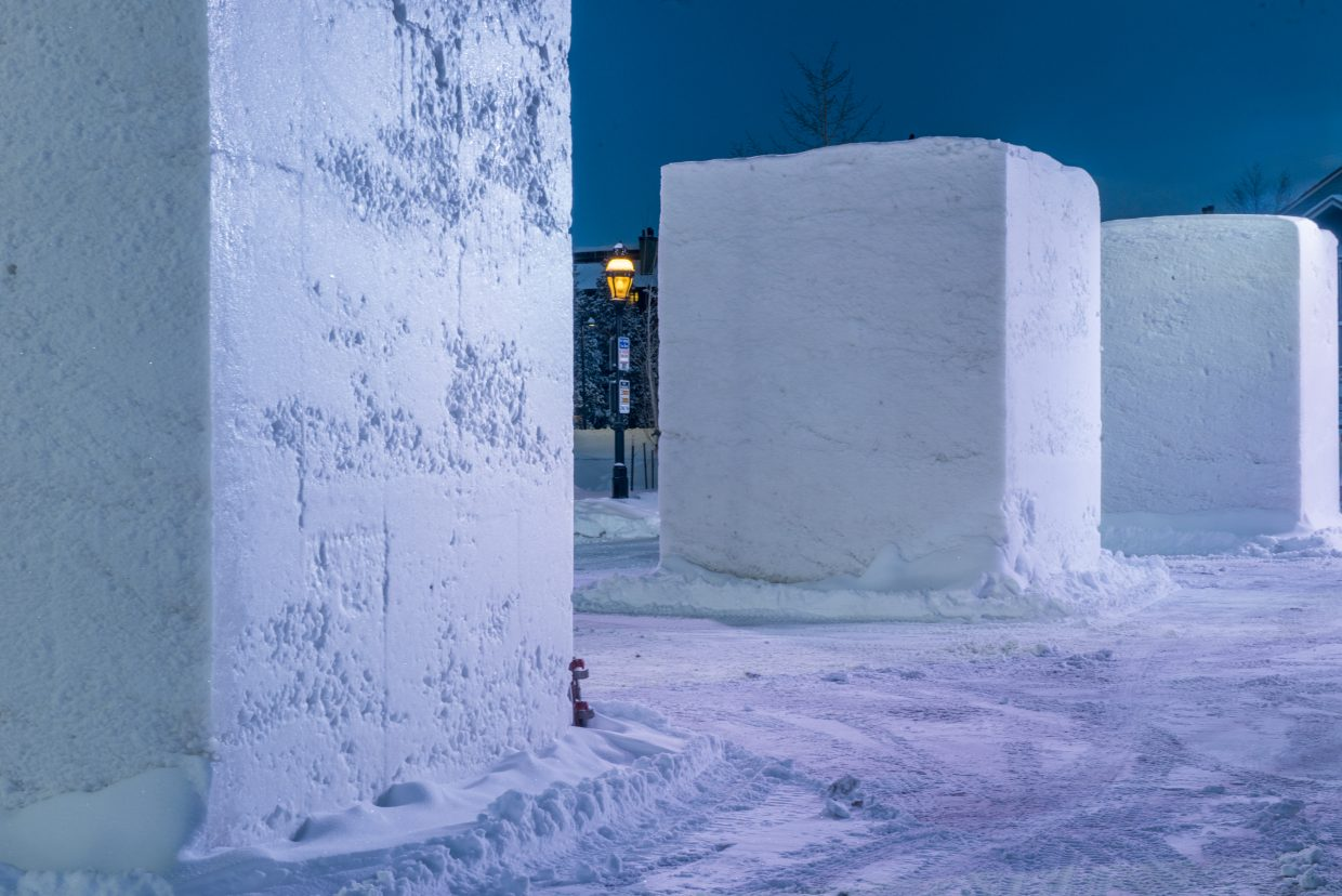 Four hundred tons of snow are used to create blocks for 16 teams.
