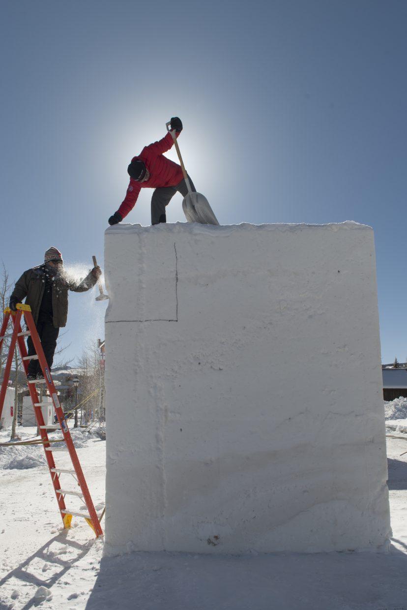 Sculpting began Monday, Jan. 22 for the 28th International Snow Sculpture Championships.