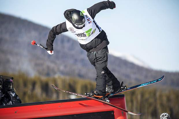 Gus Kenworthy of the United States competes in the team challenge slopestyle jibs competition Sunday, Dec. 17 at Breckenridge Ski Resort.