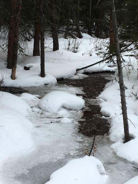 A creek bed seen near the top of Peak 8 on Saturday.