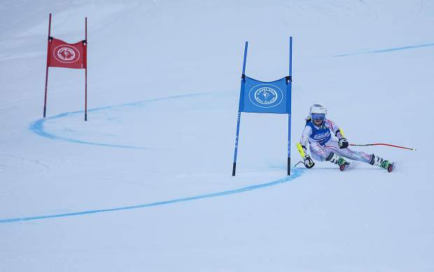A competitor in the SYNC Ski-Up giant Slalom Race Thursday, Jan. 4, at Loveland Ski Area.