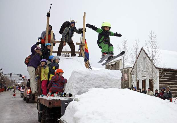 A youngster launches off a ski-ramp float during a previous Ullr Fest in Breckenridge. The Ullr Fest parade, which begins at 4:30 p.m. Thursday, serves as the centerpiece of the four-day festival going from Wednesday through Saturday.