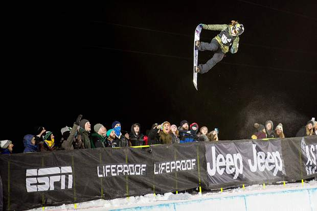 Arielle Gold competing in her third run for the women's superpipe final competition on Saturday night for X Games. Gold took silver overall with a high score of 92.33 on her third run.