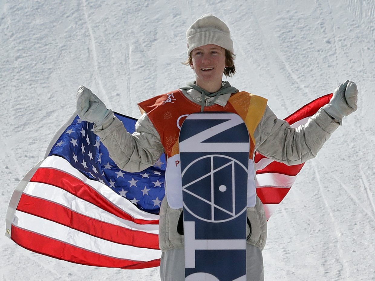 RedGerard, of the United States, smiles after winning gold in the men's slopestyle final at Phoenix Snow Park at the 2018 Winter Olympics in Pyeongchang, South Korea, Sunday, Feb. 11, 2018. (AP Photo/Lee Jin-man)