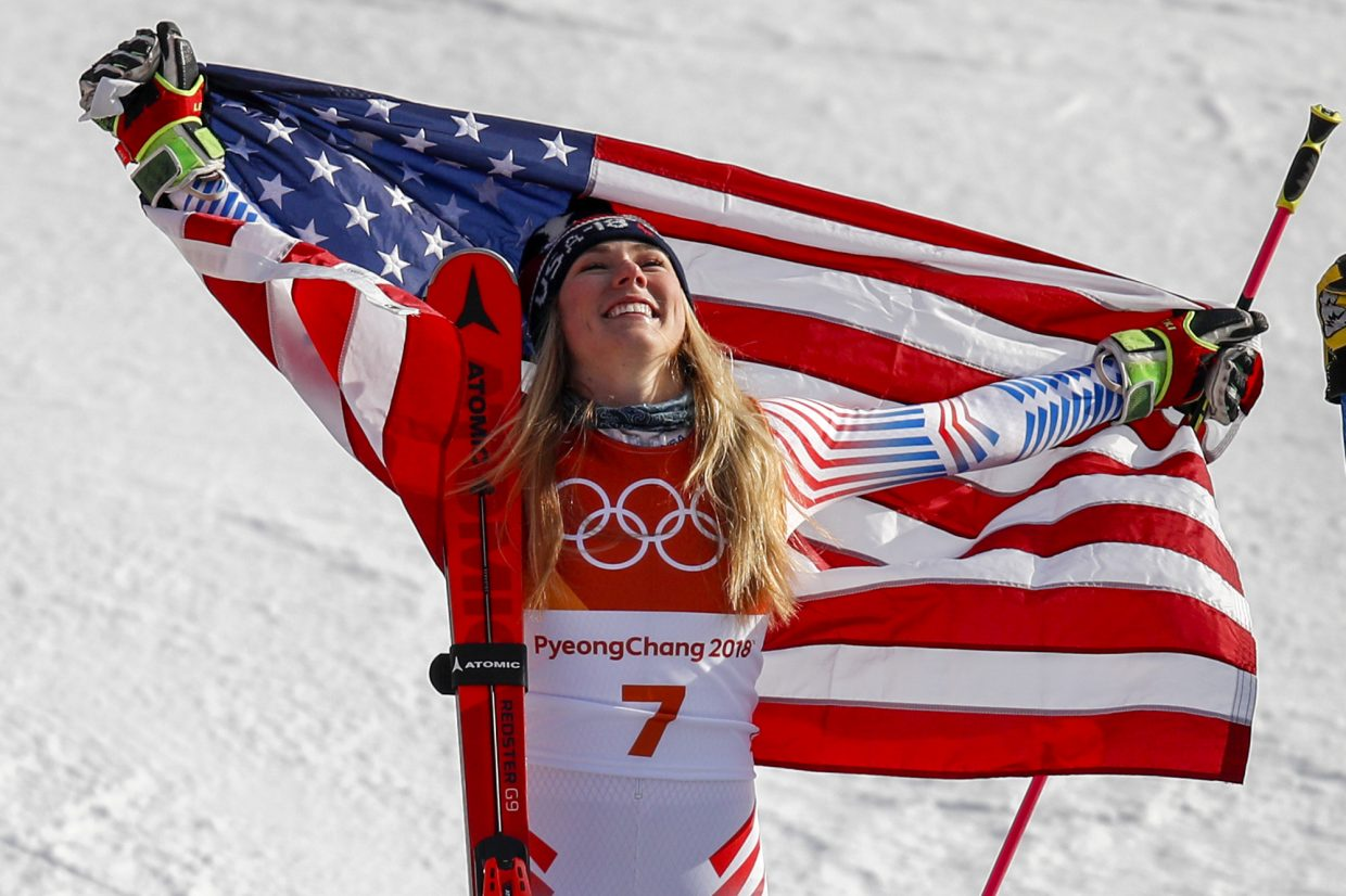 Mikaela Shiffrin, of the United States, celebrates her gold medal during the venue ceremony at the Women's Giant Slalom at the 2018 Winter Olympics in Pyeongchang, South Korea, Thursday, Feb. 15, 2018., Thursday, Feb. 15, 2018. (AP Photo/Jae C. Hong)