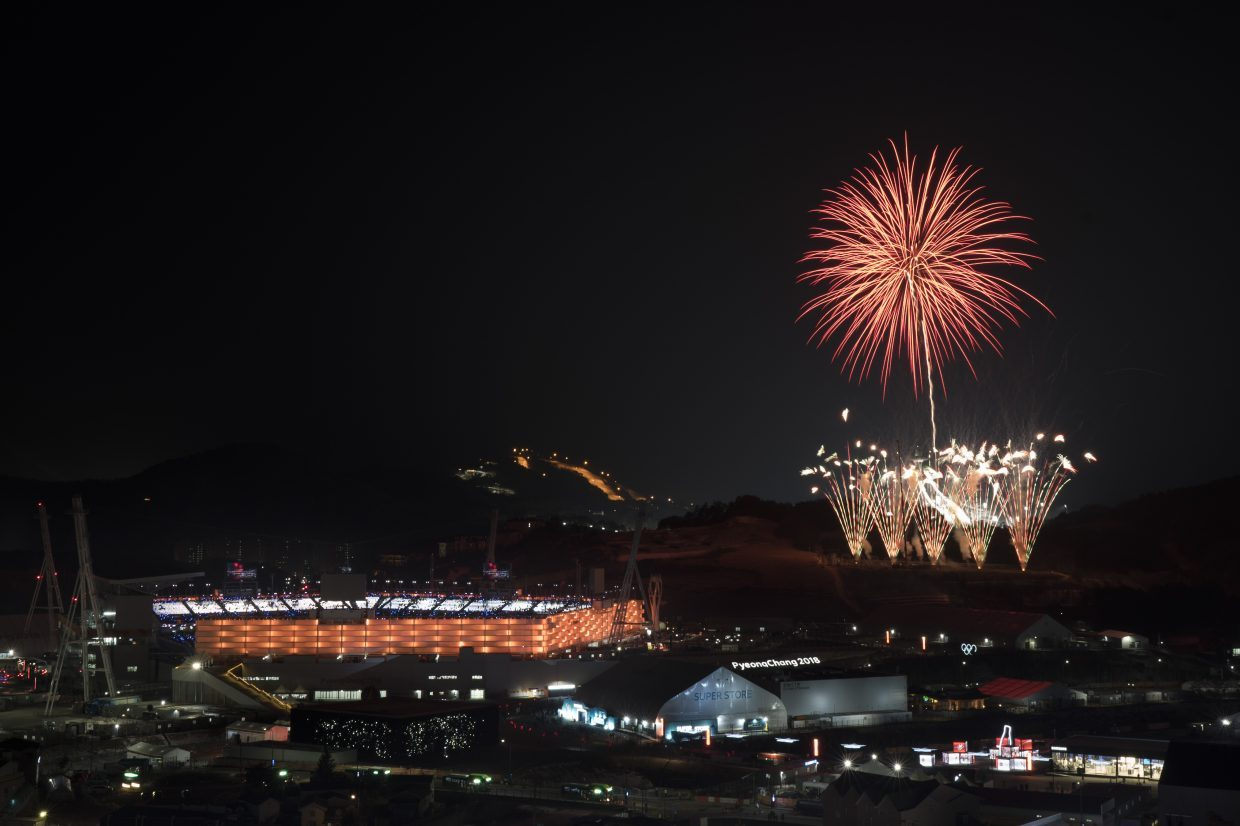 98d6d2c8 Fireworks explode behind the Olympic Stadium during the closing ceremony of  the 2018 Winter Olympics in Pyeongchang, South Korea, on Sunday, Feb. 25.