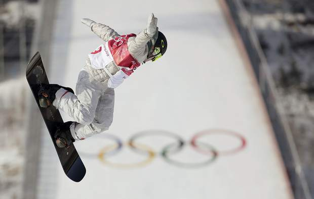 Redmond Gerard, of the United States, jumps during the men's Big Air snowboard qualification competition at the 2018 Winter Olympics in Pyeongchang, South Korea, Wednesday, Feb. 21, 2018. (AP Photo/Dmitri Lovetsky)
