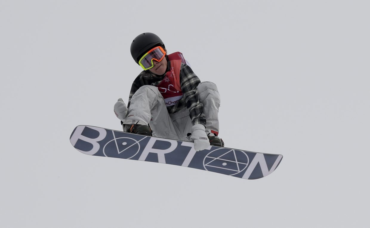 Redmond Gerard, of the United States, jumps during the men's Big Air snowboard competition at the 2018 Winter Olympics in Pyeongchang, South Korea, Saturday, Feb. 24, 2018. (AP Photo/Kirsty Wigglesworth)