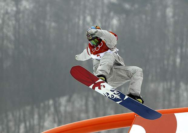 Chris Corning, of the United States, jumps during the men's slopestyle qualifying at Phoenix Snow Park at the 2018 Winter Olympics in Pyeongchang, South Korea, Saturday, Feb. 10, 2018.