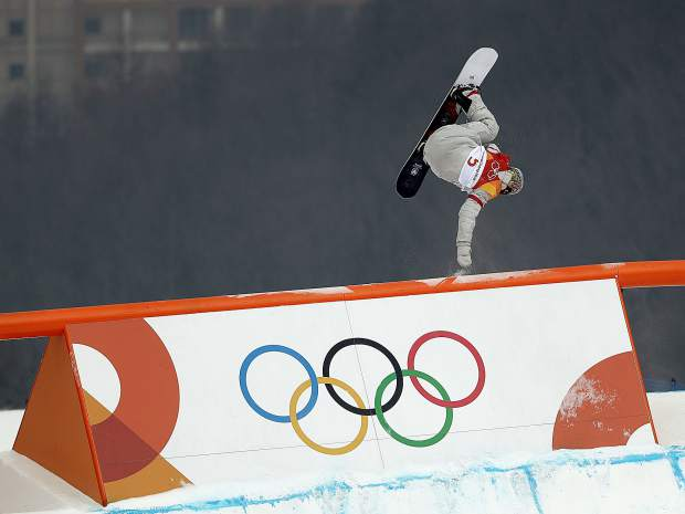 Chris Corning of Silverthorne jumps during the men's slopestyle qualifying round at Phoenix Snow Park at the 2018 Winter Olympics in Pyeongchang, South Korea on Saturday, Feb. 10.