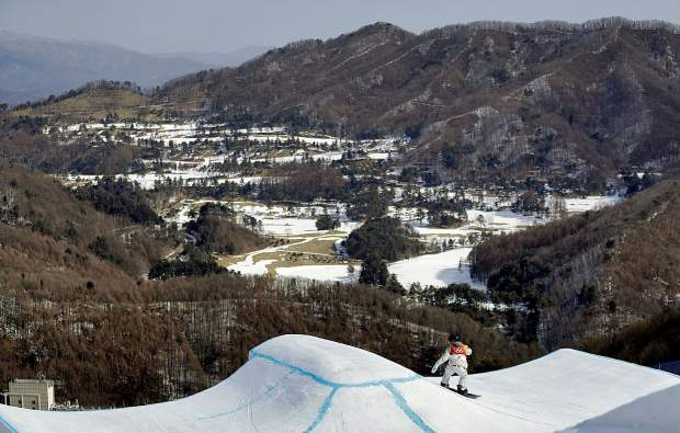 Red Gerard, of the United States, runs the course during the men's slopestyle final at Phoenix Snow Park at the 2018 Winter Olympics in Pyeongchang, South Korea, Sunday, Feb. 11, 2018.