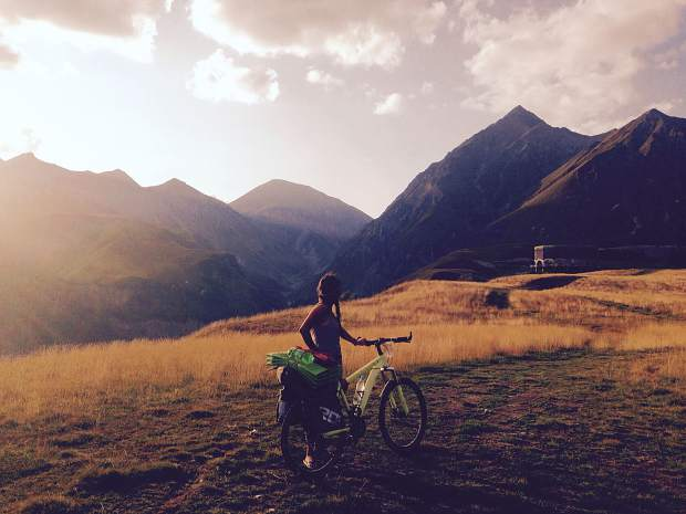 Callie Morgigno of Leadville poses for a photo with her bike in Georgia.