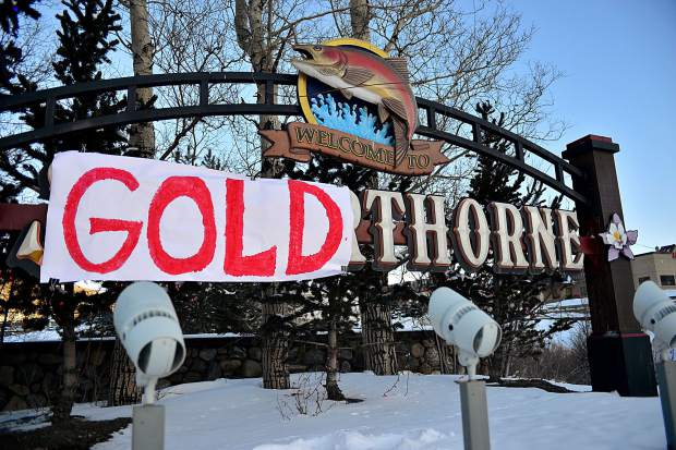 "The sign welcoming drivers into Silverthorne from eastbound Interstate 70 at exit 205 now reads ""Welcome to Goldthorne"" after local Red Gerard won Olympic gold in the men's snowboard slopestyle and someone ""fixed"" the sign."