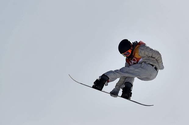 RedGerard, of the United States, jumps during the men's slopestyle final at Phoenix Snow Park at the 2018 Winter Olympics in Pyeongchang, South Korea, Sunday, Feb. 11, 2018. (AP Photo/Gregory Bull)