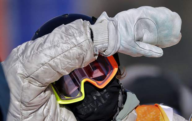 RedGerard, of the United States, looks at his score after his run during the men's slopestyle final at Phoenix Snow Park at the 2018 Winter Olympics in Pyeongchang, South Korea, Sunday, Feb. 11, 2018. (AP Photo/Lee Jin-man)