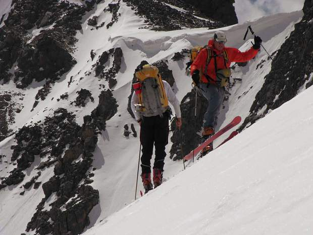 Getting ready to ski down the Atlas Cornice deep in the Gore Range.