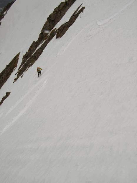 Skiing down a fresh line in the Gore Range near Mount Powell.