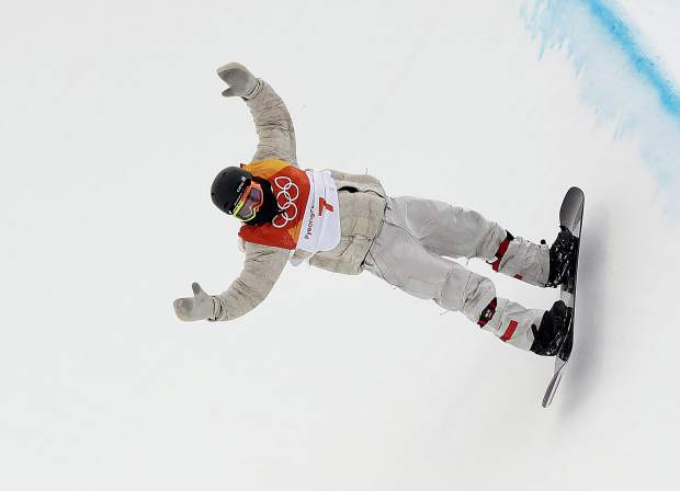 Jake Pates, of the United States, runs the course during the men's halfpipe finals at Phoenix Snow Park at the 2018 Winter Olympics in Pyeongchang, South Korea, Wednesday, Feb. 14, 2018. (AP Photo/Gregory Bull)