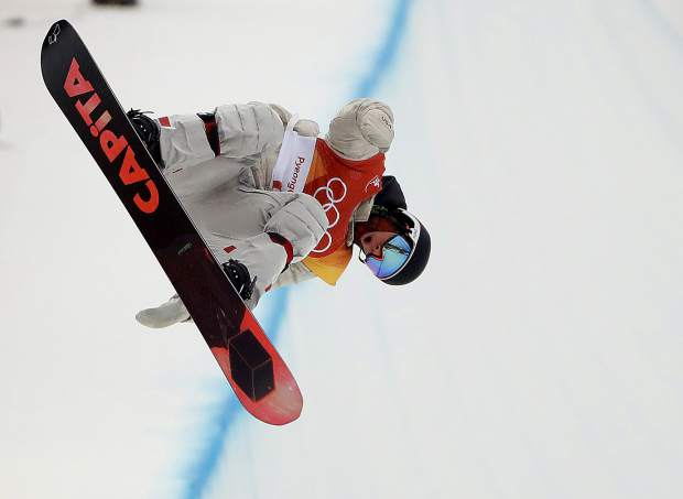 Chase Josey, of the United States, jumps during the men's halfpipe finals at Phoenix Snow Park at the 2018 Winter Olympics in Pyeongchang, South Korea, Wednesday, Feb. 14, 2018. (AP Photo/Gregory Bull)