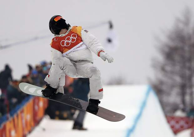 Shaun White, of the United States, jumps during the men's halfpipe finals at Phoenix Snow Park at the 2018 Winter Olympics in Pyeongchang, South Korea, Wednesday, Feb. 14, 2018. (AP Photo/Gregory Bull)