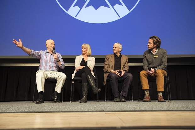 From left to right, Dr. Jules Rosen, Gini Patterson, Dr. Donald Parsons talk during panel discussion led by Summi Daily News Editor Ben Trollinger in part of the Longevity Project event Tuesday, Feb. 27, at the Riverwalk Center in Breckenridge.