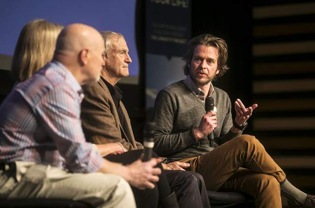 Summit Daily News Editor Ben Trollinger leads a panel discussion during the Longevity Project event Tuesday, Feb. 27, at the Riverwalk Center in Breckenridge.