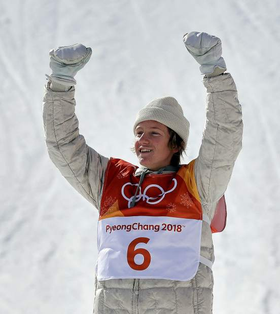 Red Gerard, of the United States, celebrates after winning gold in the men's slopestyle final at Phoenix Snow Park at the 2018 Winter Olympics in Pyeongchang, South Korea, Sunday, Feb. 11, 2018. (AP Photo/Lee Jin-man)