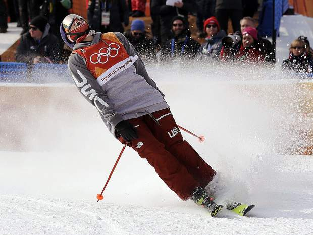 Silver medal winner Nick Goepper of the United States reacts to his run during the men's slopestyle final at Phoenix Snow Park at the 2018 Winter Olympics in Pyeongchang, South Korea on Sunday, Feb. 18.