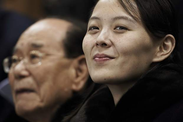 In this Feb. 10 file photo, Kim Yo Jong, sister of North Korean leader Kim Jong Un, right, and North Korea's nominal head of state Kim Yong Nam, wait for the start of the preliminary round of the women's hockey game between Switzerland and the combined Koreas at the 2018 Winter Olympics in Gangneung, South Korea.