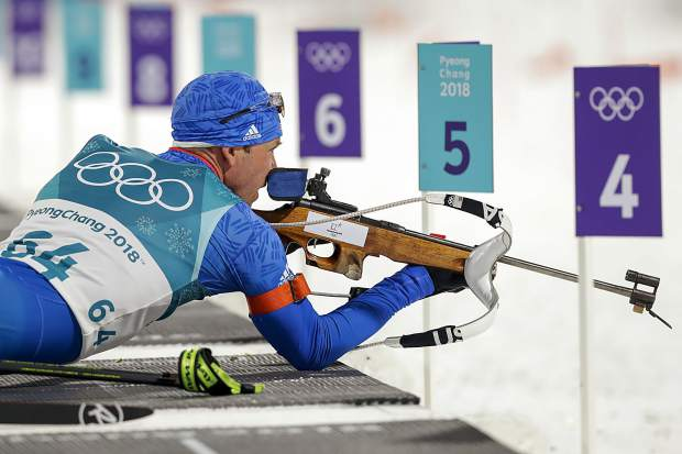 Lowell Bailey, of the United States, looks at the targets before shooting during the men's 10-kilometer biathlon sprint at the 2018 Winter Olympics in Pyeongchang, South Korea, on Feb. 11.