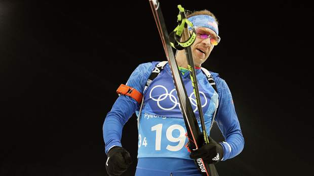 Lowell Bailey, of United States of America leaves the course after the 2x6-kilometer wome's + 2x7.5-kilometer men's mixed relay biathlon at the 2018 Winter Olympics in Pyeongchang, South Korea, Feb. 20.