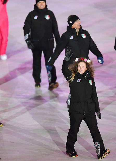 Vail skier Sarah Schleper walks into the 2018 Winter Olympic Opening Ceremonies with the Mexican team.
