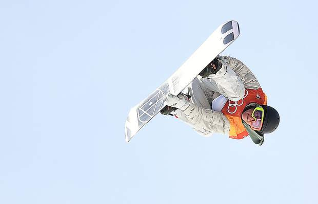 Red Gerard flies through his final trick en route to a gold medal during the 2018 WInter Olympics snowboard slopestyle competition. Gerard became the first American to win a gold medal at the 2018 Winter Games.