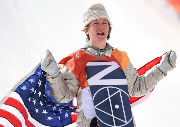 Red Gerard celebrates after winning a gold medal Sunday in the men's snowboard slopestyle event at the 2018 Winter Olympics.