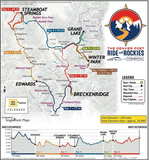 A rendering of this June's Ride The Rockies route shows the event beginning and concluding in Summit County on Day's 1 and 6.