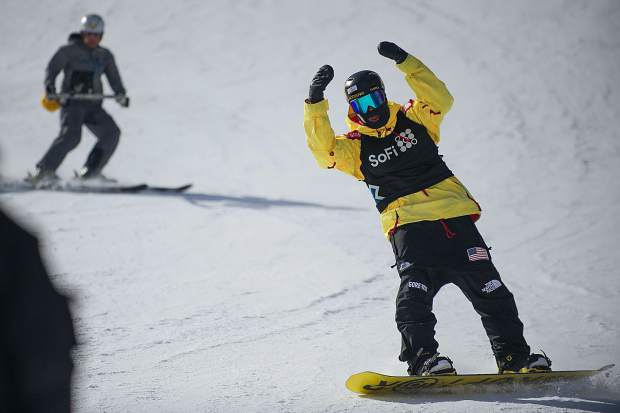 Silverthorne resident and West Bloomfield, Michigan-native Kyle Mack throws up his arms in excitment after landing his first run for the men's snowboard slopestyle qualifiers in Aspen at last month's X Games.